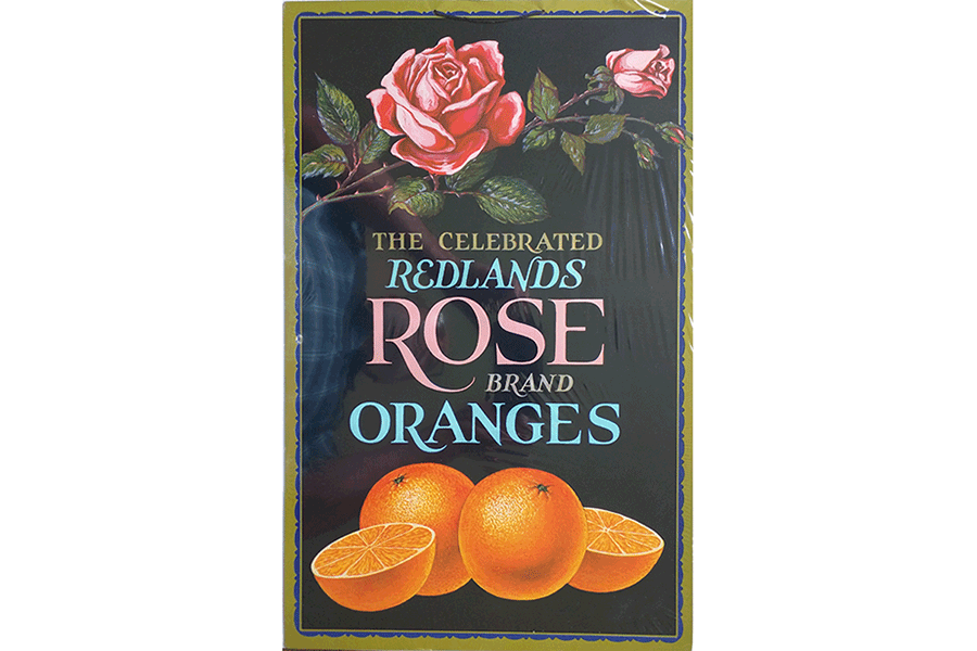 redlands rose organges vintage sign